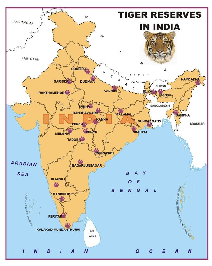 tiger reserve in india map